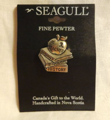 Seagull pewter favorite teacher pin brooch pre-owned made in Canada ll3488