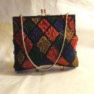 Argyle plaid all bead evening bag DuVal handmade Hong Kong wrist chain vintage excellent ll3490