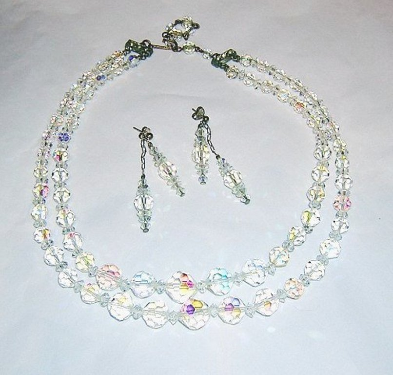 Aurora Borealis demi parure 2 strand necklace choice of earrings vintage jewelry ll2060