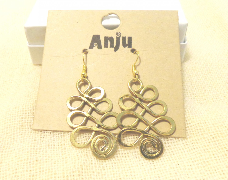 Anju chandelier earrings for pierced ears gold tone shepherd's hook ll3494