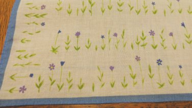 Cotton scarf, hanky bandanna violets floral vintage 18 inches Atsuki Onishi ll3502