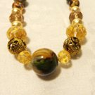 Mixed bead necklace glass agate metal gold foil earth tones neutrals handmade ll3504