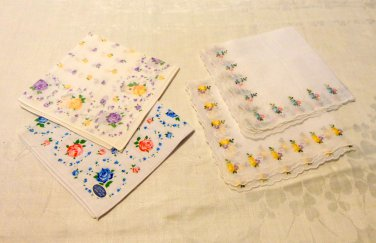 Lot of 4 vintage hankies 2 embroidered linen 2 printed cotton white look unused ll3507