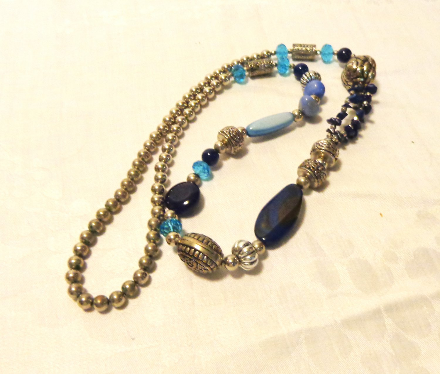 Mixed bead necklace 36 inches real stones blue green silver vintage ll3508