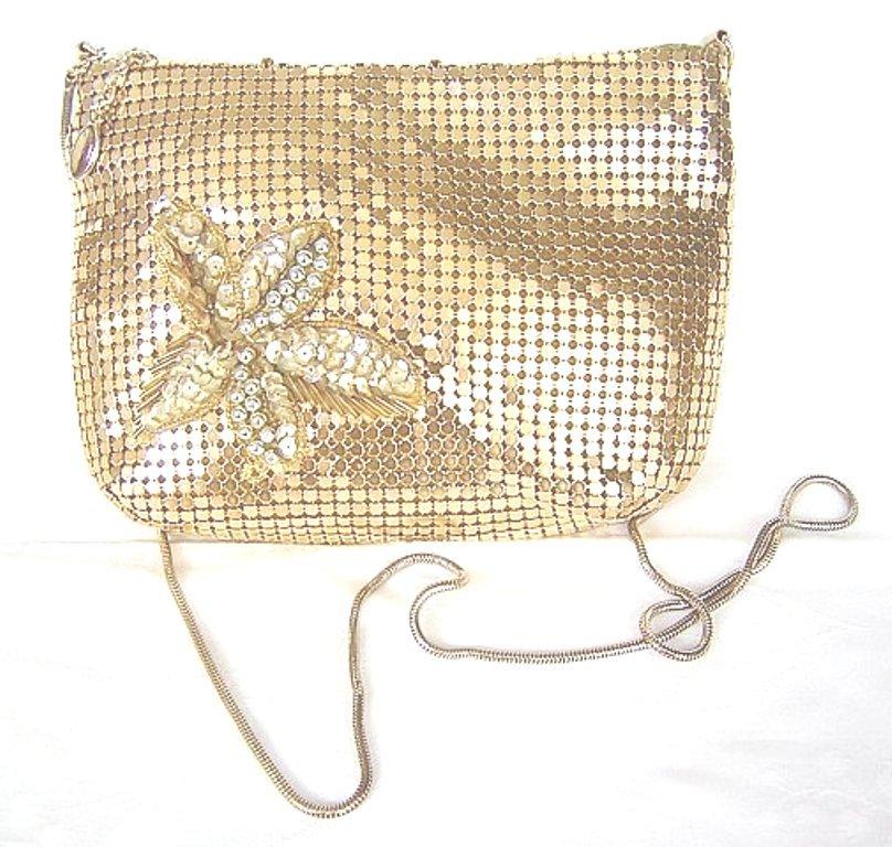 Vintage gold aluminum mesh evening bag w sequin detail ll1551
