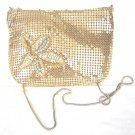 Vintage gold aluminum mesh evening bag w sequin detail ll1551