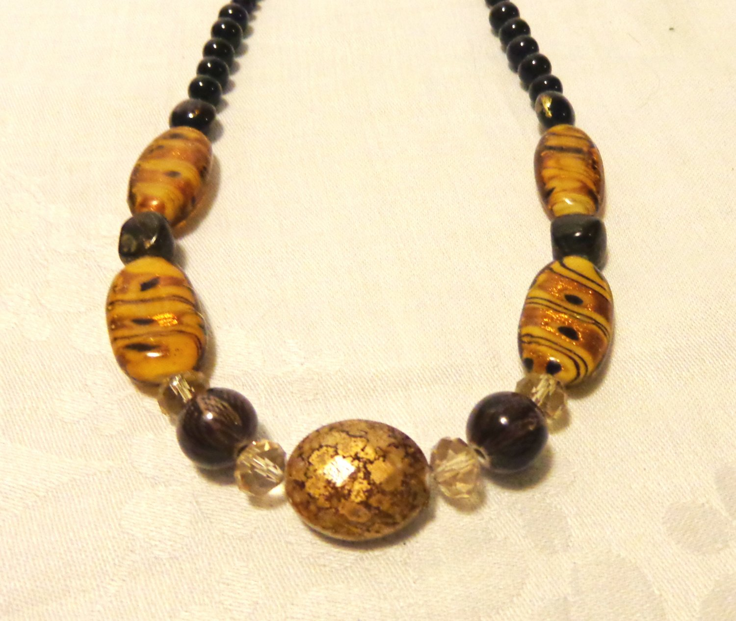 Dichroic and mixed bead necklace neutral tones handmade 24 inches springring clasp ll3516