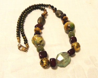 Mixed bead necklace neutral tones handmade 24 inches springring clasp ll3517