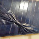 Navy blue eelskin clutch or shoulder bag classic style bow trim looks unused vintage ll3518