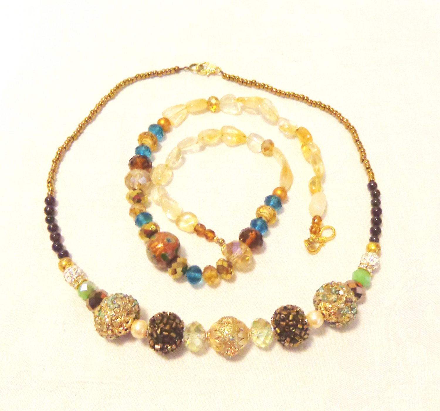 Two handmade mixed bead necklaces bronze gold glamour and blue copper mixed beads 22 inches ll3520