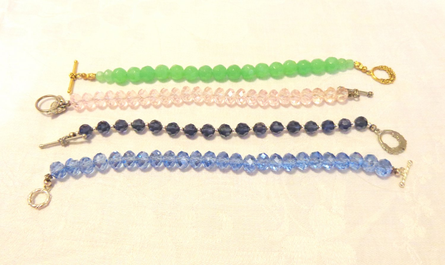 4 Handmade bead bracelets faceted crystal beads glass Lucite decorative clasps perfect ll3521