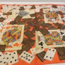 Card playing silk scarf bold orange, brown, white face cards 30 x 28 inches used no damage ll3522