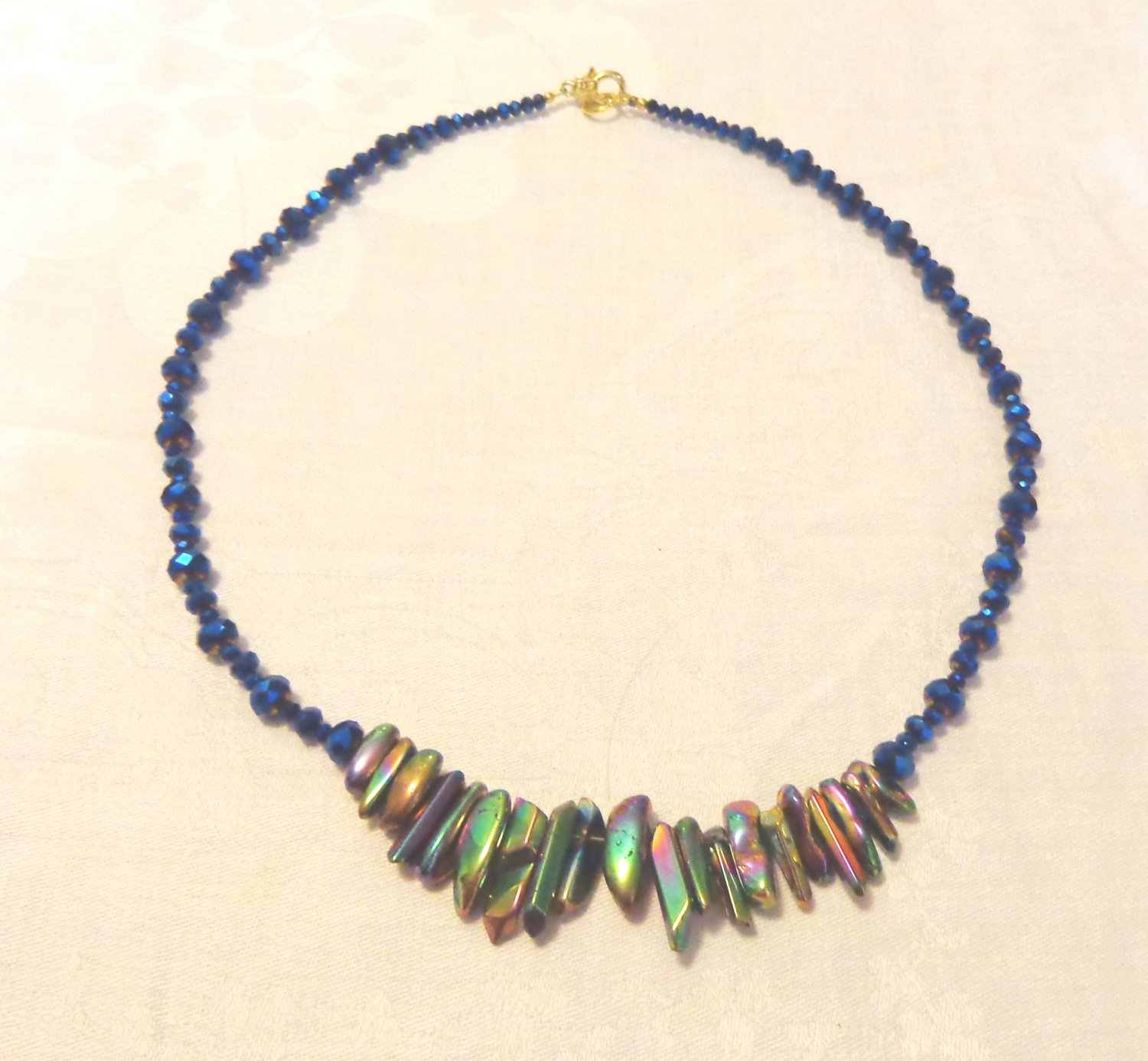 Elegant necklace abalone and faceted dark aurora borealis 24 inches clasp perfect handmade ll3530