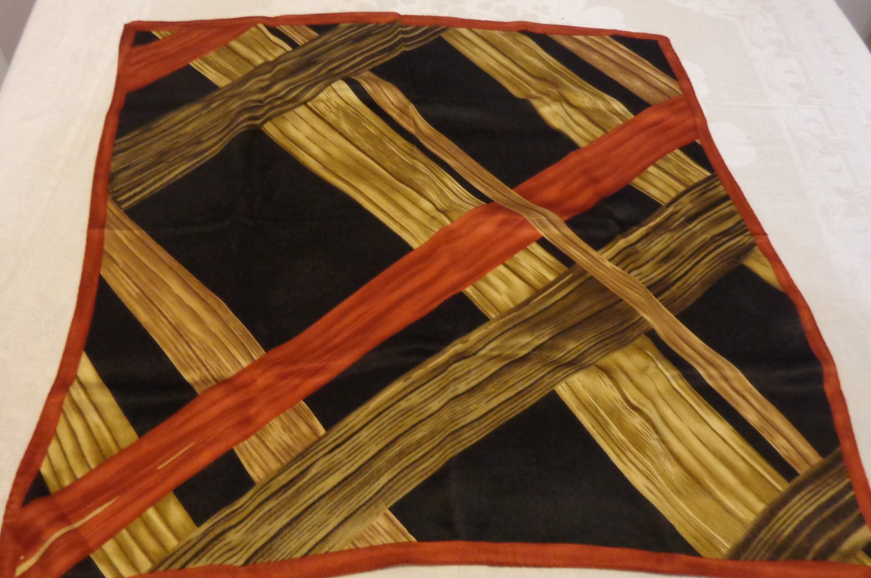 Anne Klein 22 inch silk scarf crisscrossed board like bands black rust, tan vintage ll3531
