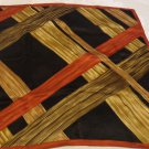 Anne Klein 22 inch silk scarf crisscrossed board like bands black rust, tan vintage ll3531