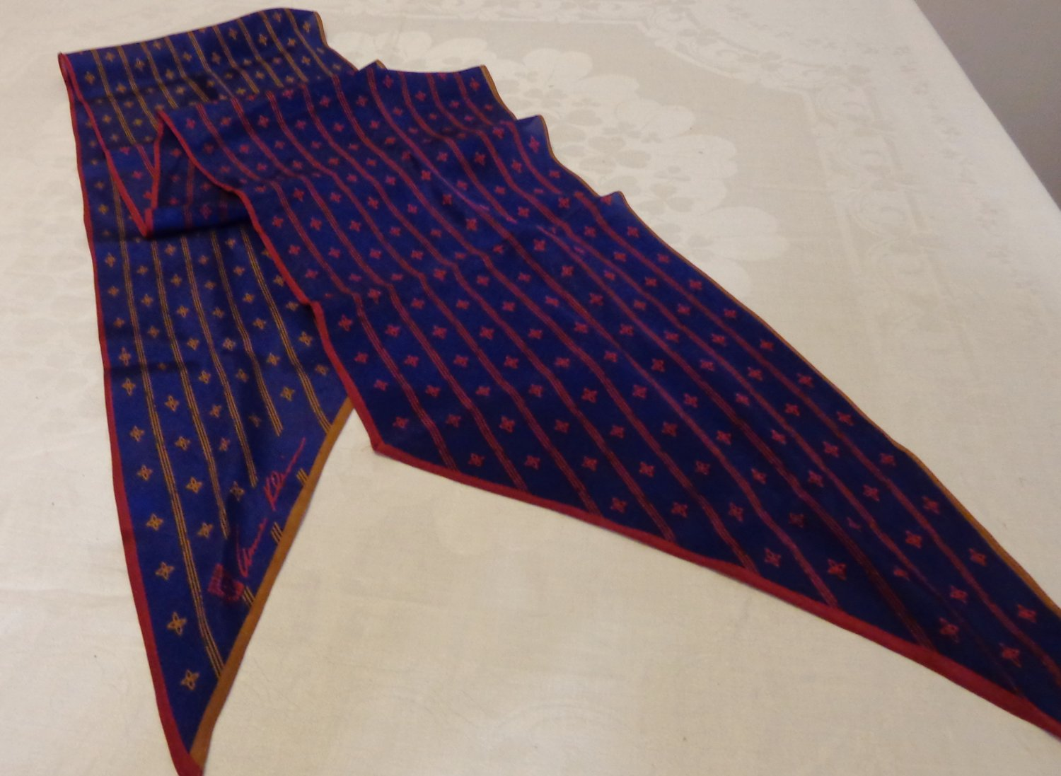 Anne Klein long bias cut silk scarf navy red gold signed 72 inches  vintage ll3532