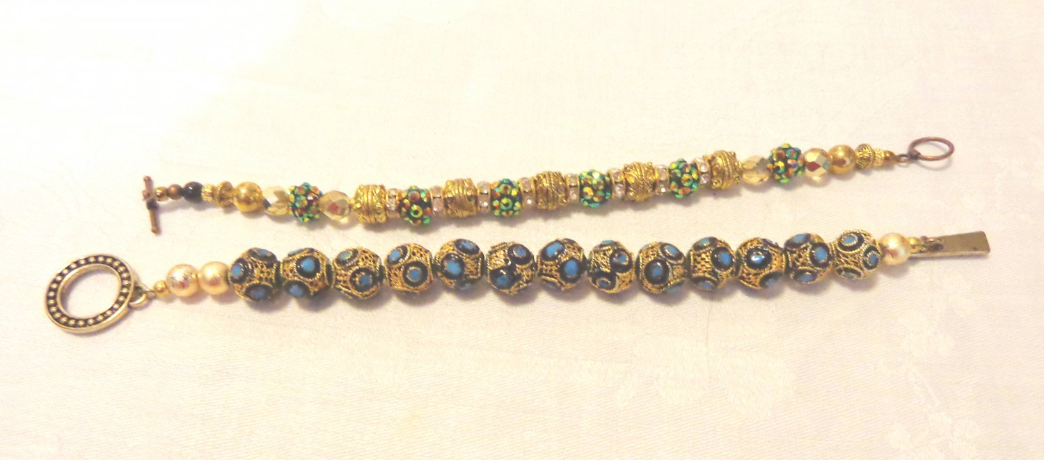 2 Handmade bead bracelets fancy mixed beads rod and ring clasps perfect ll3535