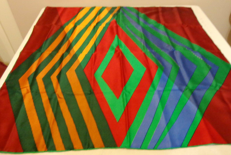 Marja Kurki Finland large silk scarf diagonal stripes jewel tones rolled hem as new ll3537