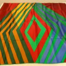 Marja Kurki Finland large silk scarf diagonal stripes jewel tones rolled hem as new ll3537