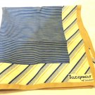 Jacqmar of London polyester square scarf machine wash 20 inches navy tan pin stripes vintage ll3542