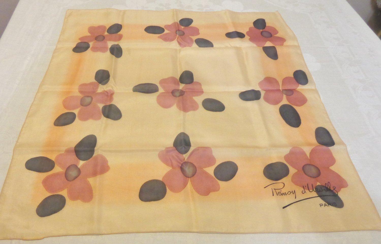 Remoy d'Urville Paris silk scarf square beige with mod flowers vintage ll3547