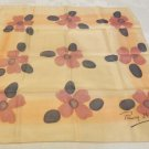 Remoy d'Urville Paris silk scarf square beige with mod flowers vintage ll3547