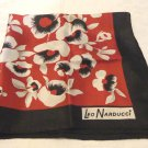 Leo Narducci silk twill scarf square burgundy black with daubed flowers vintage ll3548