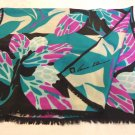 Anne Klein long silk scarf bold abstract floral emerald magenta black vintage ll3551