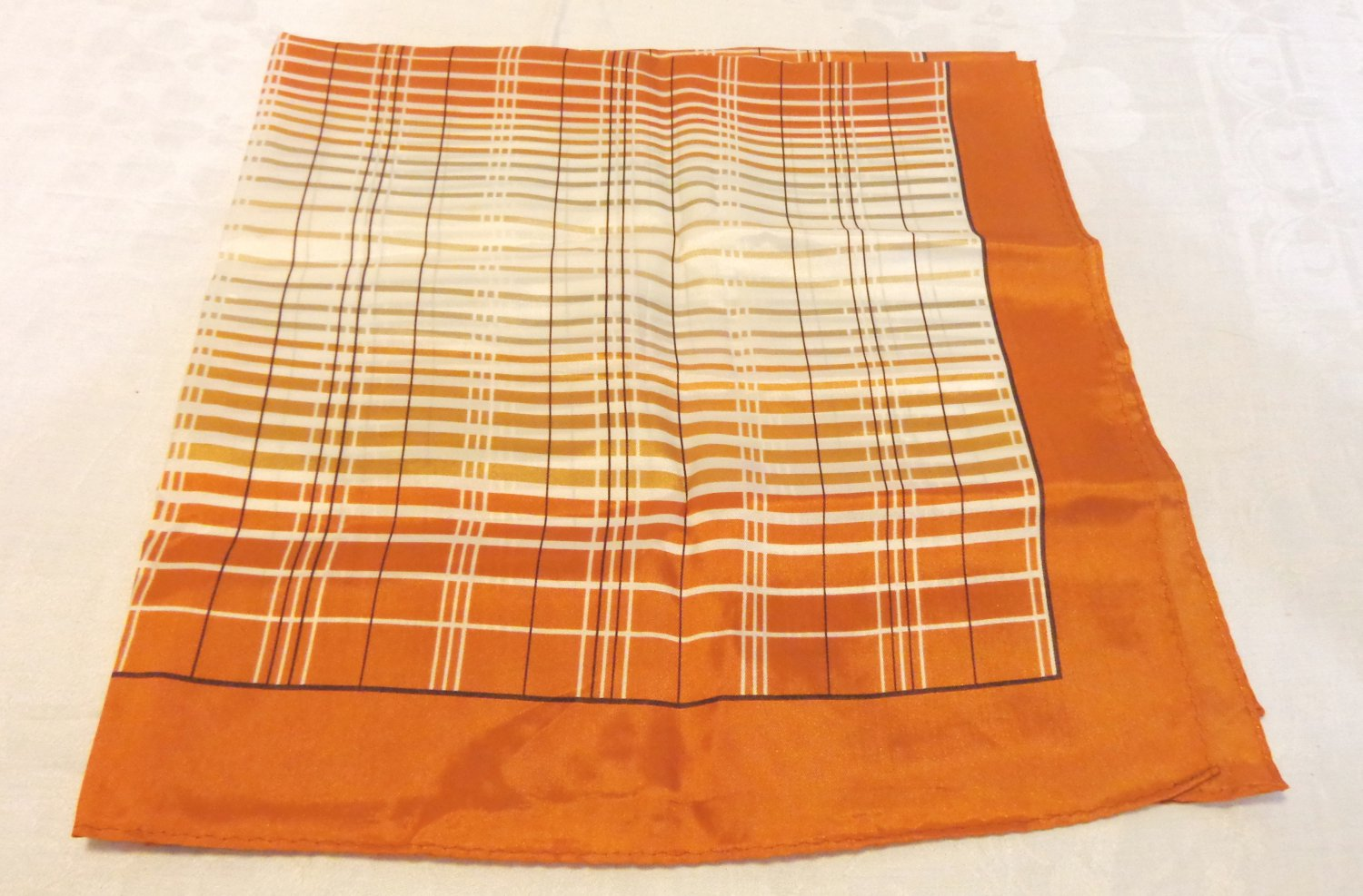 Copper and white square scarf acetate excellent vintage 27 inches ll3558