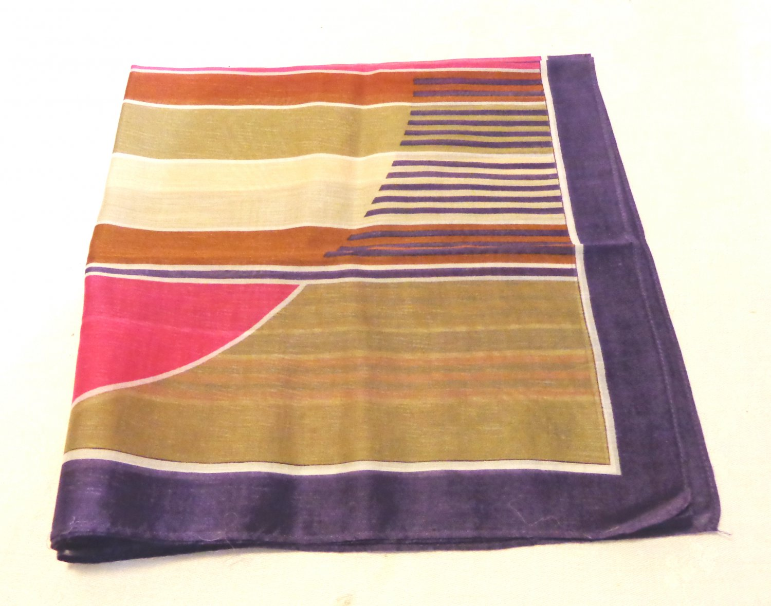 Cotton bandana or kerchief muted stripes bold geometric excellent vintage ll3560