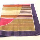 Cotton bandanna or kerchief muted stripes bold geometric excellent vintage ll3560