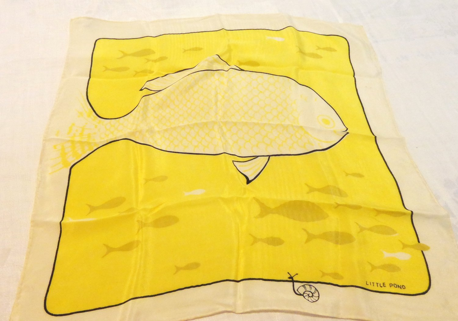 Big Fish Little Pond whimsical silk scarf small yellow rolled hem vintage ll3561