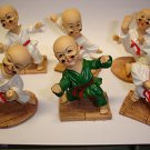 Used cute lot of 6 PCs Chinese Kung Fu boys monks 6.5cm action figures figurines