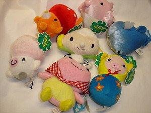 "Used 7 Happy RURU 4.25""-5.25"" whale globfish etc.stuffed toy plush doll figure"