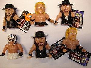 Lot of 6 WWE Wrestling Ultimate Thumb Wrestler soft plastic action figures