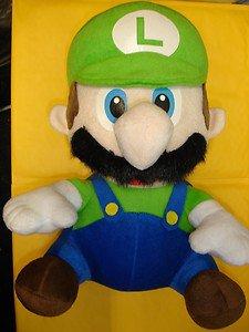 "Used Banpresto Super Mario Bros. Luigi 14"" tall stuffed plush doll figure"