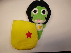 "Used Keroro Gunso Afro Gunso 5"" bean bag plush stuffed toy figure"