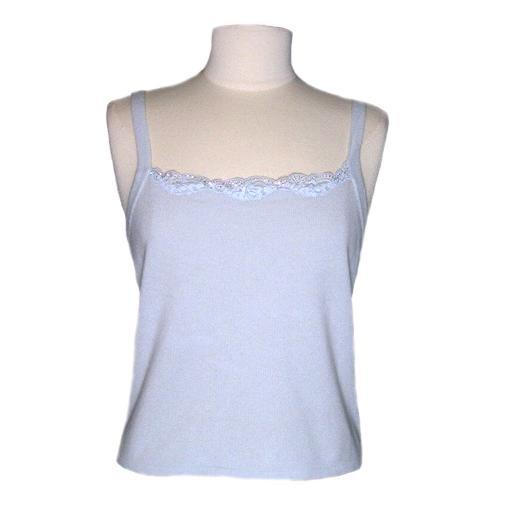 New Sexy 100% Cashmere DANA BUCHMAN Blue Top- PL