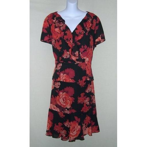 Black Floral NORTON McNAUGHTON 2-Pc Dress- Size 10/ 12