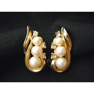 Vintage Signed TRIFARI Faux Pearl Earrings