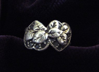 Sweet Sterling Silver Double Heart Ring Size 5 1/2