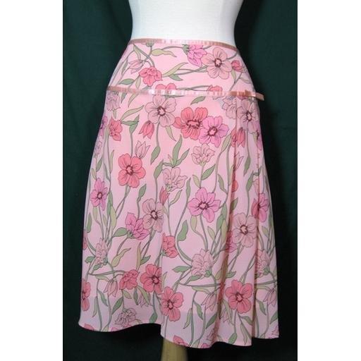 Peachy Pink FASHION BUG Floral Skirt Size 18W