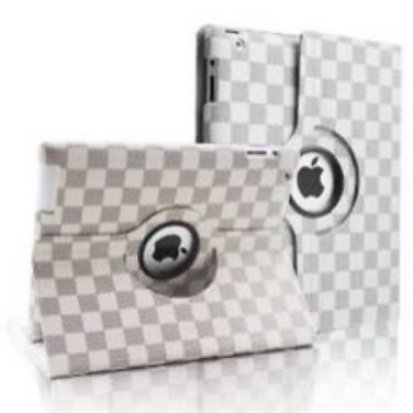 White Checkered Damier iPad Case
