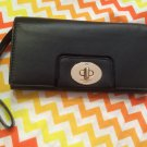 Kate Spade Turnlock Mara Hampton Road Black Leather Clutch