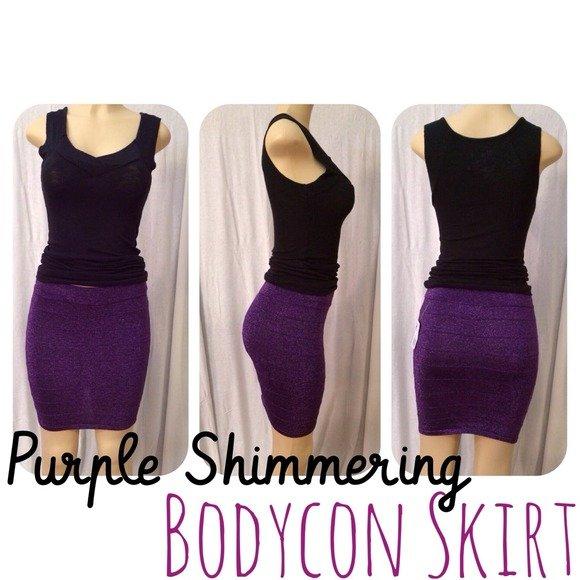 Purple Shimmering Bodycon Skirt Medium