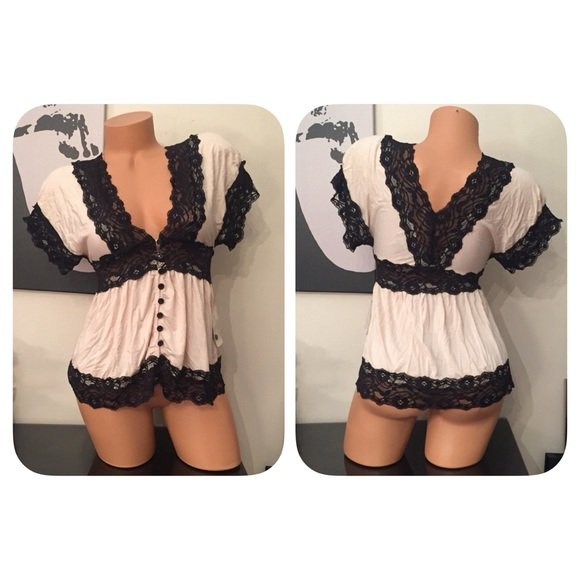 Taupe/Black Lace Dressy Top - S