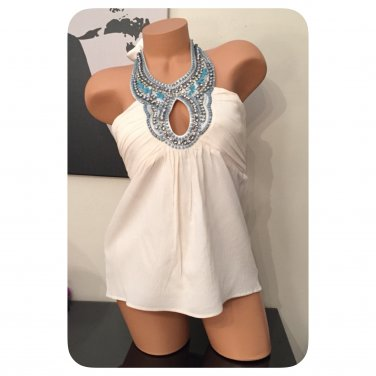 Bebe S/L Sheri Embellished Silk Halter Top - S