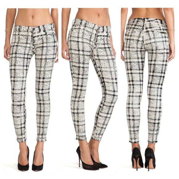 Seven For All Mankind Skinny Pants Black/White Plaid