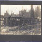 Antique Matted Photo Logging Lumberjacks in Northwest Barrel Horse Guys Smoking Logs