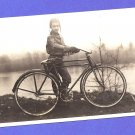 A Kid an Aviator Style Hat and a Bike Bicycle Old Photo Photograph